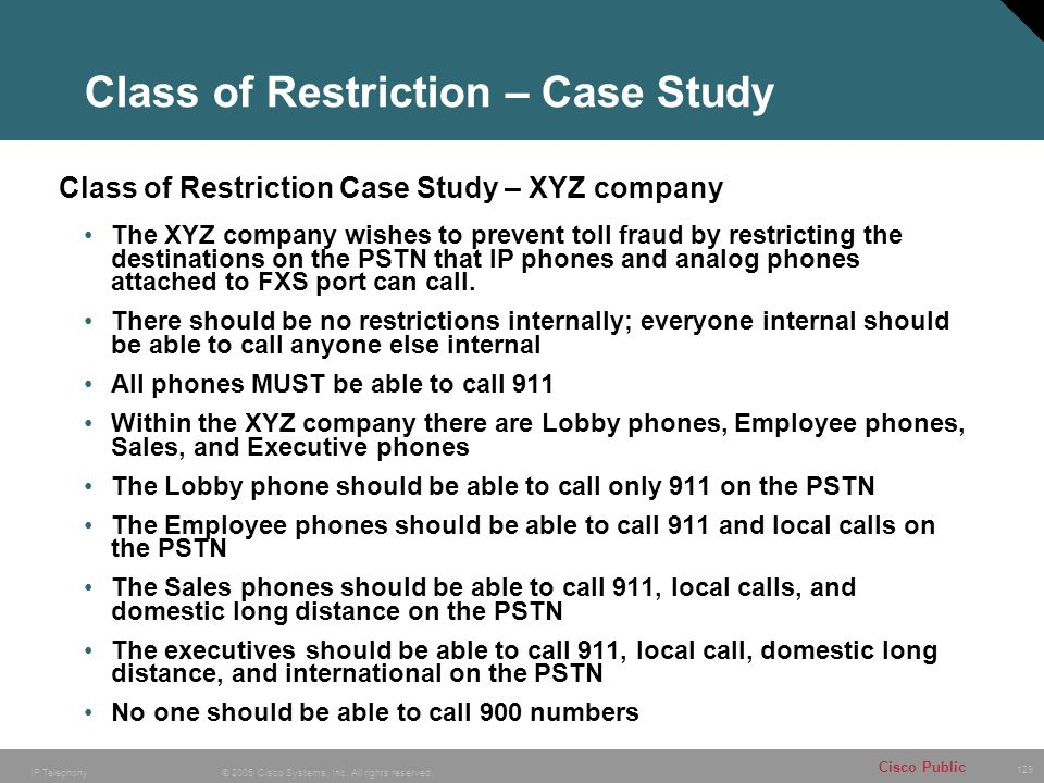 129 © 2005 Cisco Systems, Inc. All rights reserved. Cisco Public IP Telephony Class of Restriction – Case Study Class of Restriction Case Study – XYZ