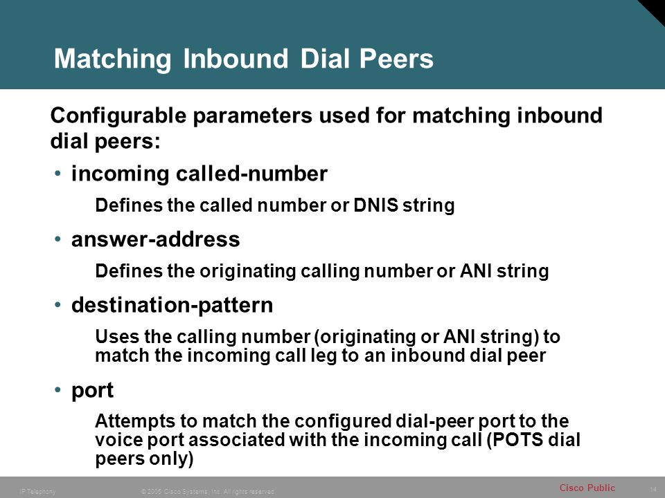 14 © 2005 Cisco Systems, Inc. All rights reserved. Cisco Public IP Telephony Matching Inbound Dial Peers incoming called-number Defines the called num