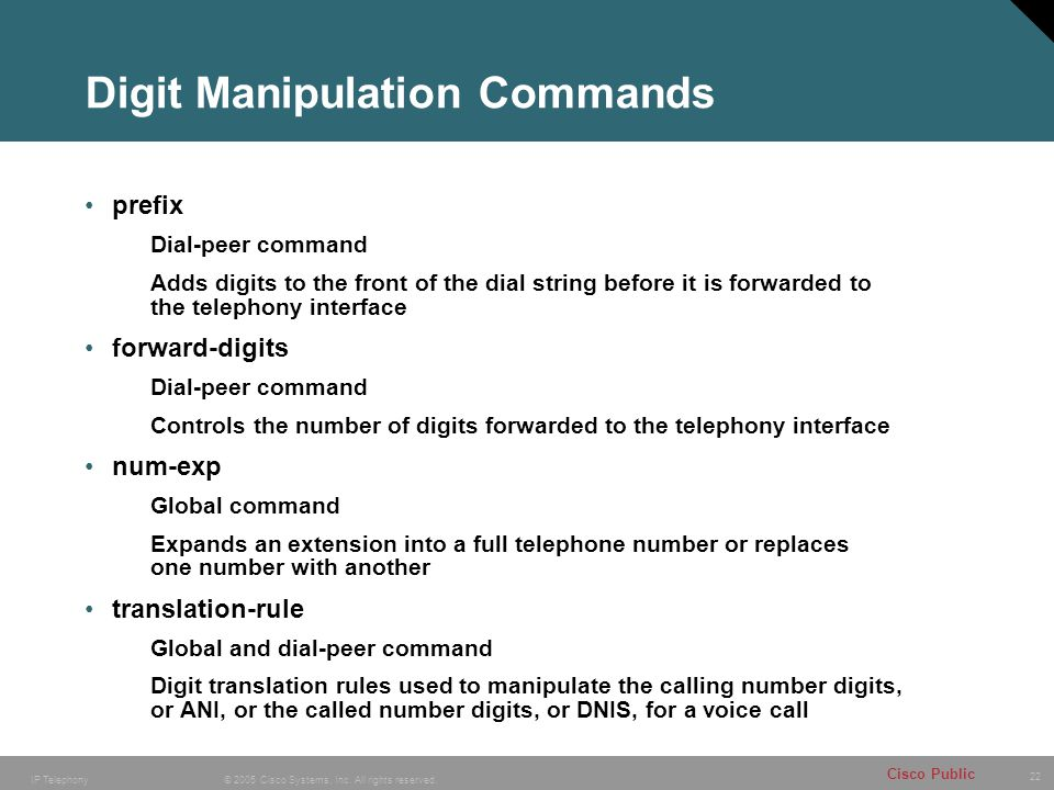 22 © 2005 Cisco Systems, Inc. All rights reserved. Cisco Public IP Telephony Digit Manipulation Commands prefix Dial-peer command Adds digits to the f