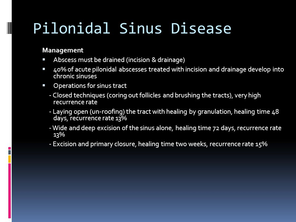 Management  Abscess must be drained (incision & drainage)  40% of acute pilonidal abscesses treated with incision and drainage develop into chronic