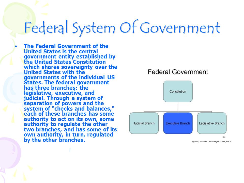 Federal System Of Government The Federal Government of the United States is the central government entity established by the United States Constitution which shares sovereignty over the United States with the governments of the individual US States.