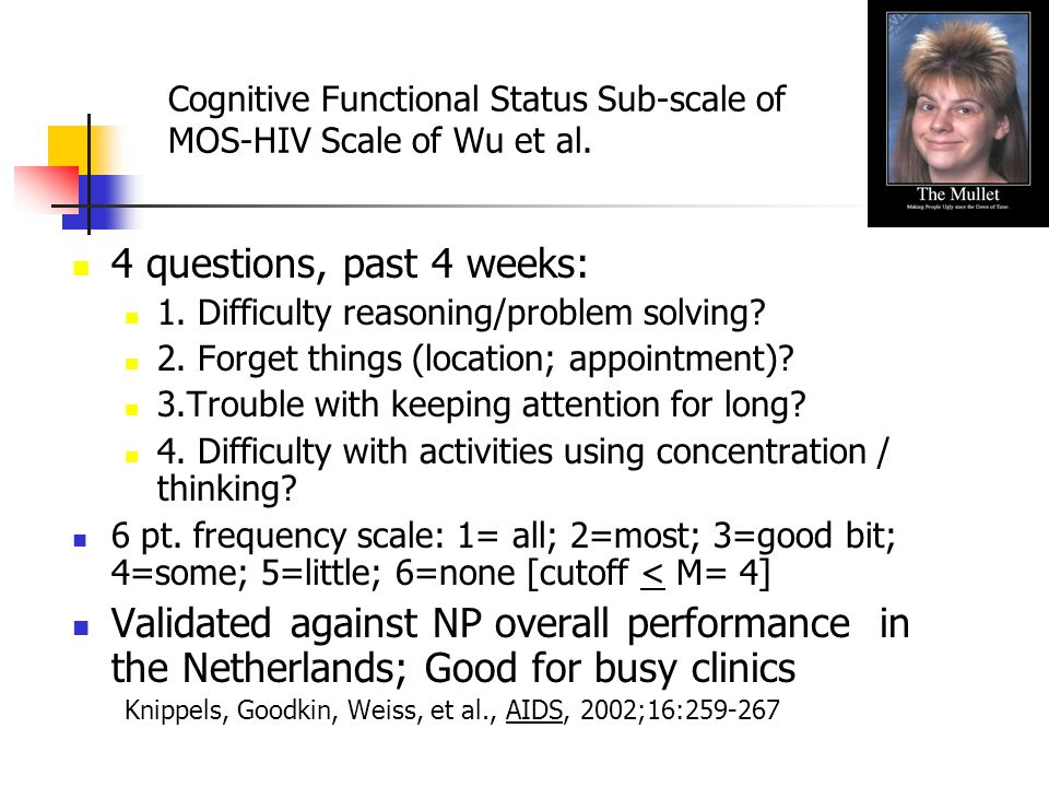 Cognitive Functional Status Sub-scale of MOS-HIV Scale of Wu et al.