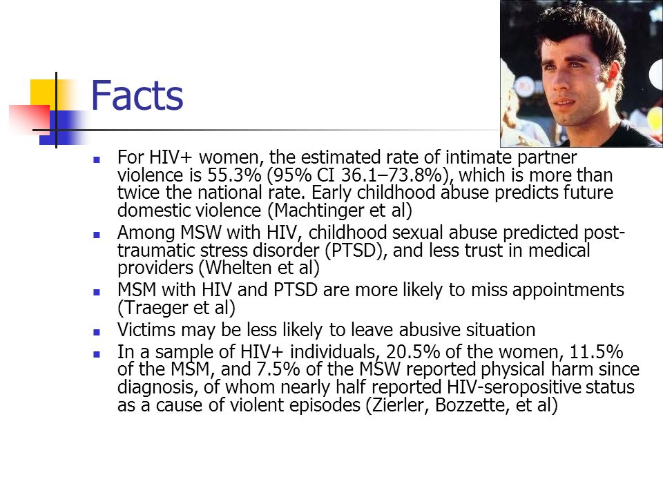 Facts For HIV+ women, the estimated rate of intimate partner violence is 55.3% (95% CI 36.1–73.8%), which is more than twice the national rate.
