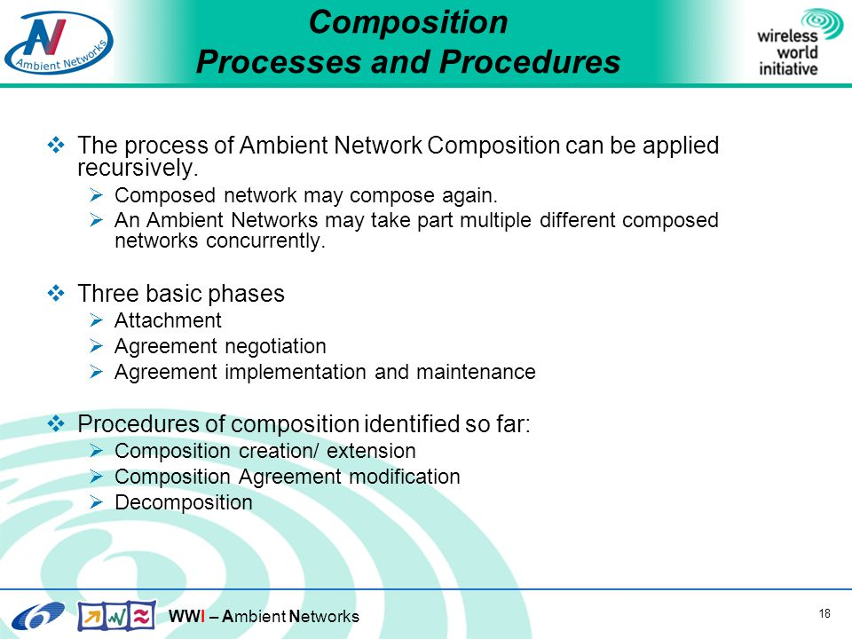 WWI – Ambient Networks 18 Composition Processes and Procedures  The process of Ambient Network Composition can be applied recursively.