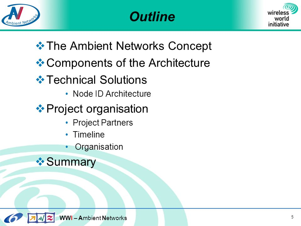WWI – Ambient Networks 5 Outline  The Ambient Networks Concept  Components of the Architecture  Technical Solutions Node ID Architecture  Project organisation Project Partners Timeline Organisation  Summary