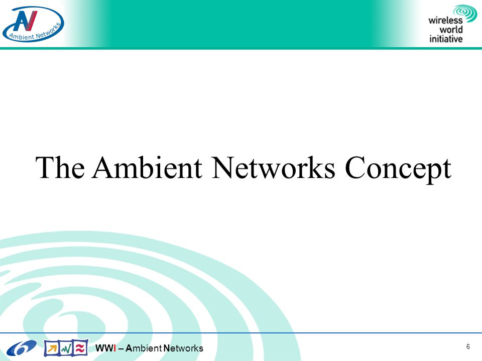 WWI – Ambient Networks 7 Requirements posed on the AN Architecture 1.Heterogeneous Networks 2.Mobility 3.Composition 4.Security and Privacy 5.Backward Compatibility and Migration 6.Network Robustness and Fault Tolerance 7.Quality of Service 8.Multi-Domain Support 9.Accountability 10.Context Communications 11.Extensibility of the Network Services Provided 12.Application Innovation and Usability