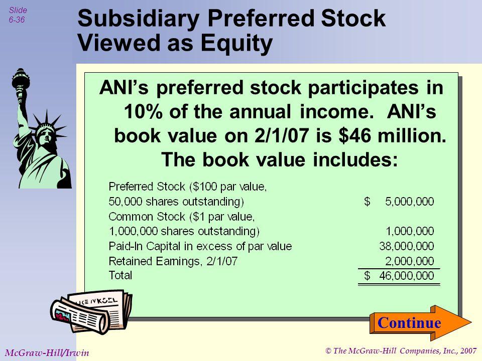 © The McGraw-Hill Companies, Inc., 2007 Slide 6-36 McGraw-Hill/Irwin ANI's preferred stock participates in 10% of the annual income.