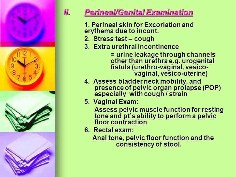 II.Perineal/Genital Examination 1. Perineal skin for Excoriation and erythema due to incont. 2. Stress test – cough 3. Extra urethral incontinence = u