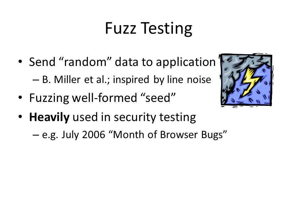 Fuzz Testing Send random data to application – B.