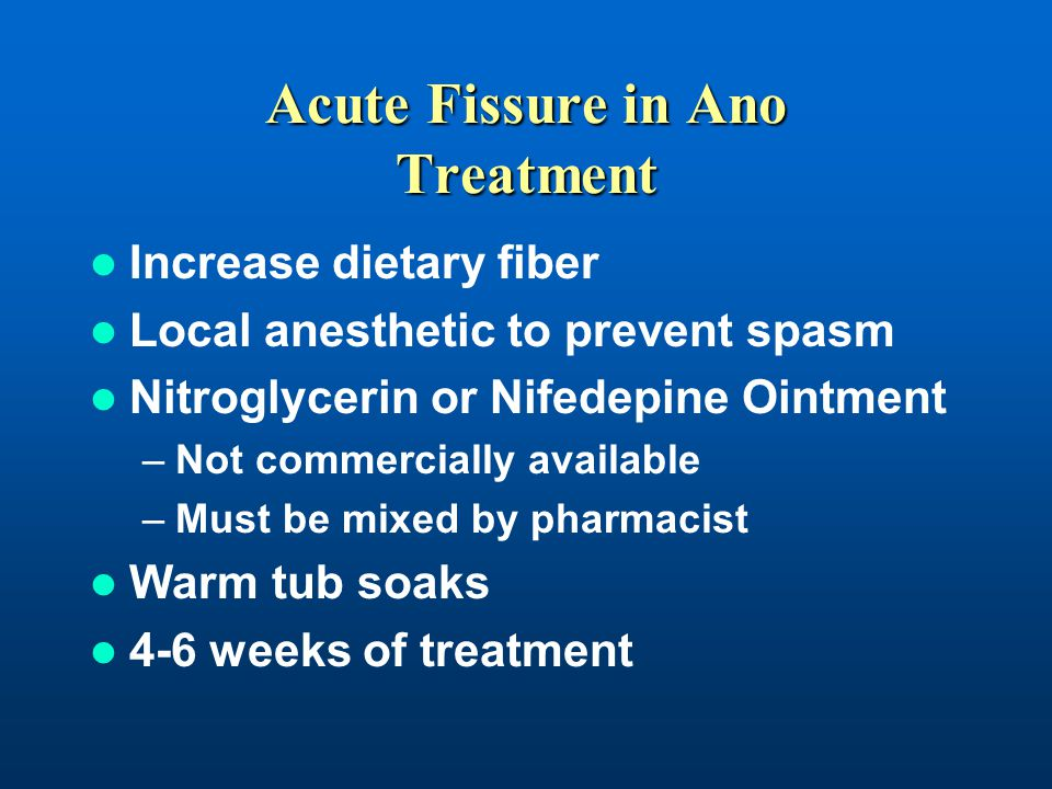 Acute Fissure in Ano Treatment Increase dietary fiber Local anesthetic to prevent spasm Nitroglycerin or Nifedepine Ointment –Not commercially availab