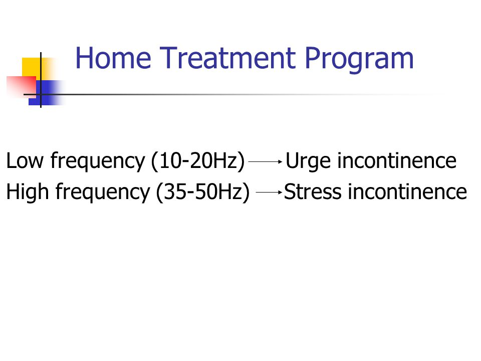 Home Treatment Program Low frequency (10-20Hz) Urge incontinence High frequency (35-50Hz) Stress incontinence