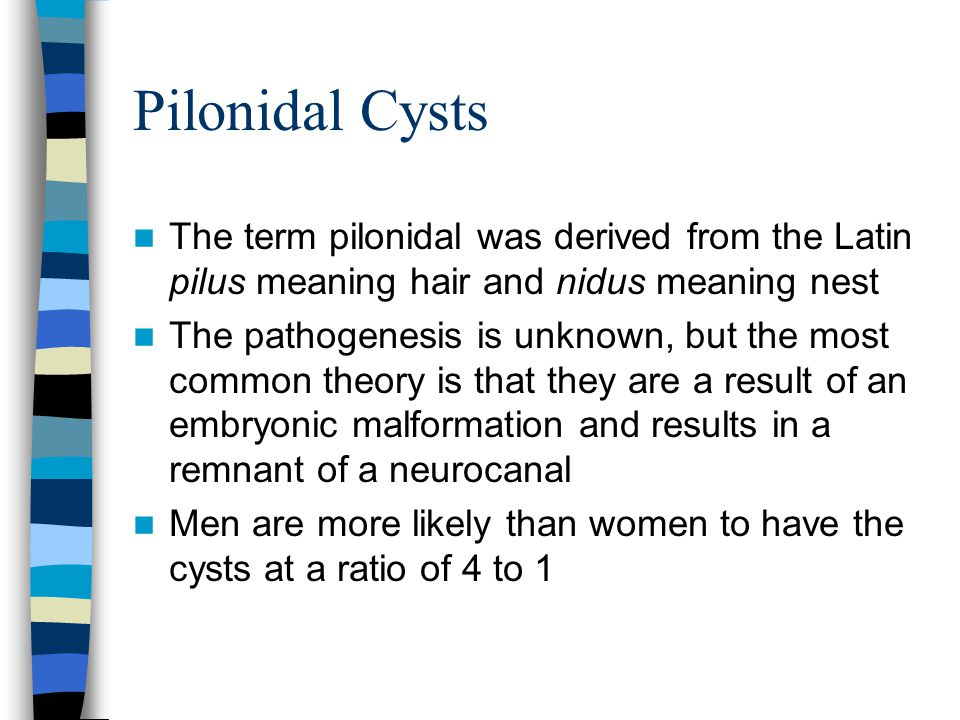 Pilonidal Cysts The term pilonidal was derived from the Latin pilus meaning hair and nidus meaning nest The pathogenesis is unknown, but the most comm