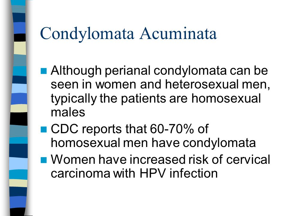 Condylomata Acuminata Although perianal condylomata can be seen in women and heterosexual men, typically the patients are homosexual males CDC reports