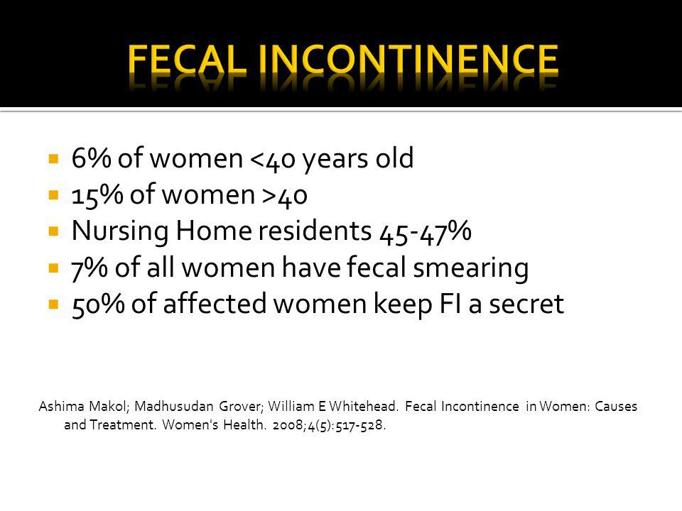  6% of women <40 years old  15% of women >40  Nursing Home residents 45-47%  7% of all women have fecal smearing  50% of affected women keep FI a