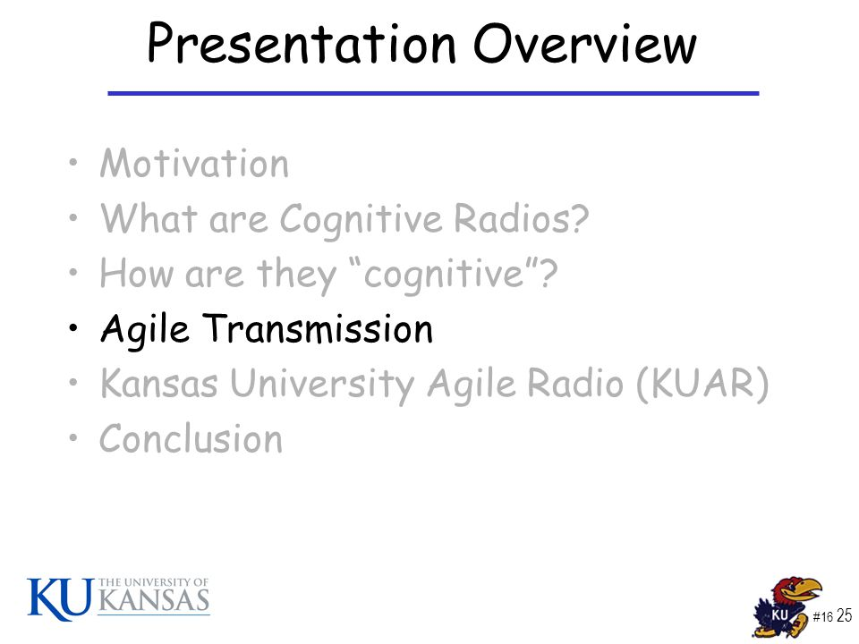 #16 25 Presentation Overview Motivation What are Cognitive Radios.