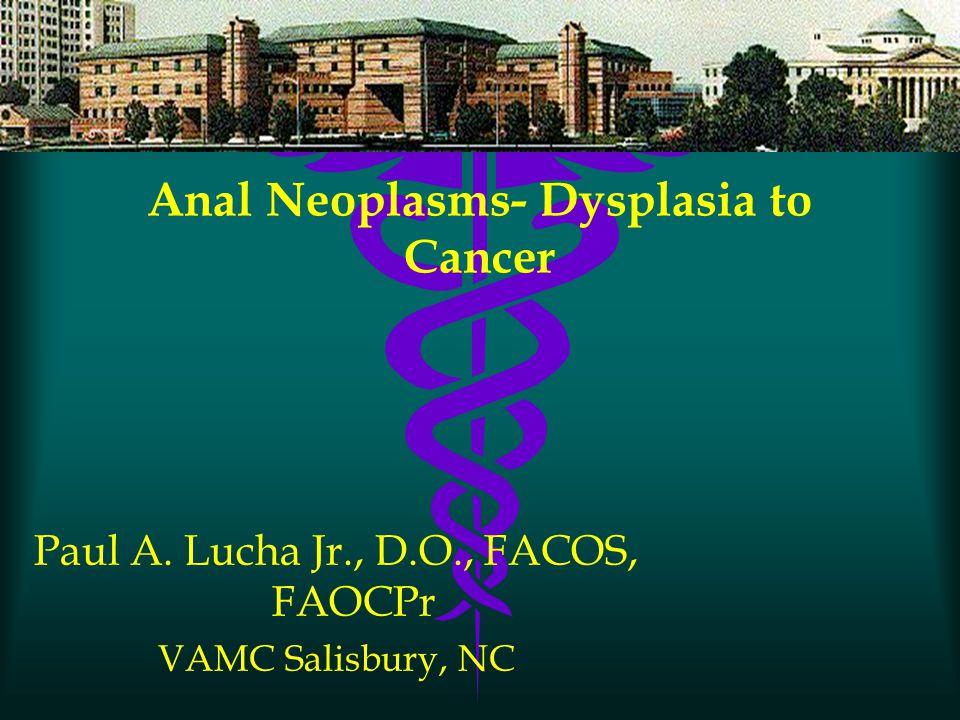 Anal Neoplasms- Dysplasia to Cancer Paul A. Lucha Jr., D.O., FACOS, FAOCPr VAMC Salisbury, NC