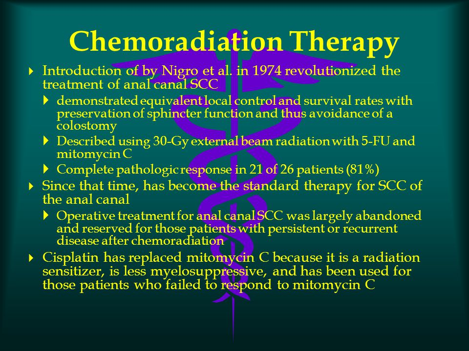 Chemoradiation Therapy  Introduction of by Nigro et al. in 1974 revolutionized the treatment of anal canal SCC  demonstrated equivalent local contro