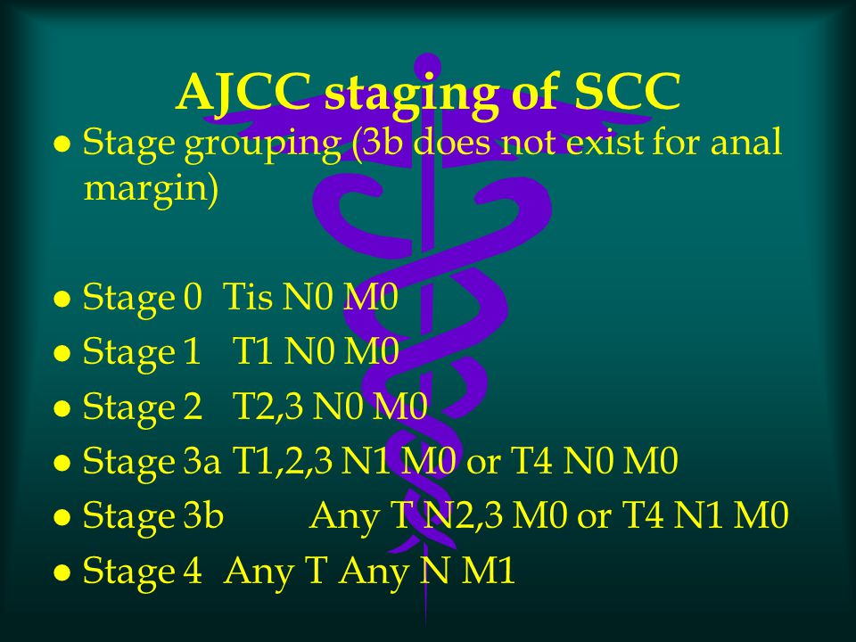 AJCC staging of SCC l Stage grouping (3b does not exist for anal margin) l Stage 0 Tis N0 M0 l Stage 1 T1 N0 M0 l Stage 2 T2,3 N0 M0 l Stage 3a T1,2,3