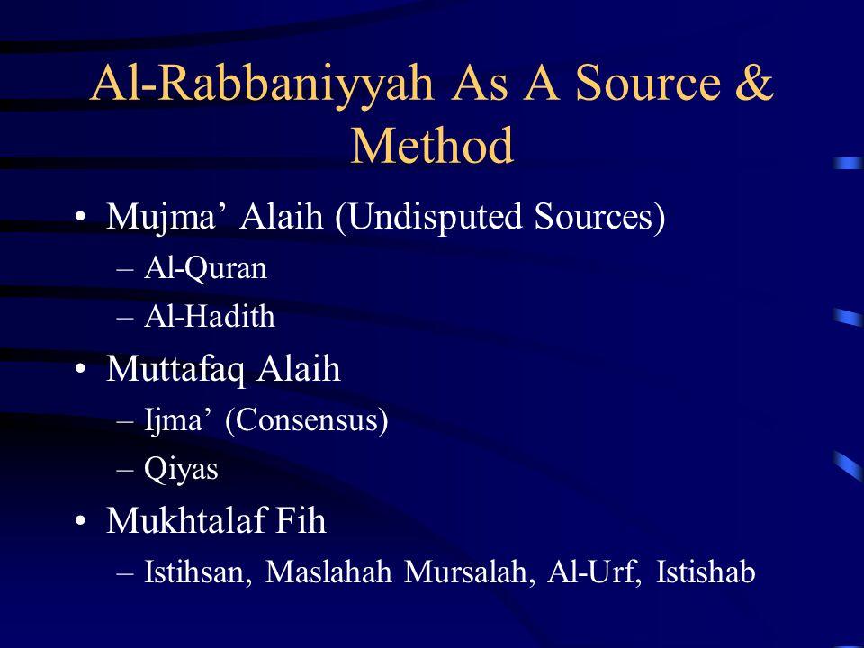 Al-Rabbaniyyah As A Source & Method Mujma' Alaih (Undisputed Sources) –Al-Quran –Al-Hadith Muttafaq Alaih –Ijma' (Consensus) –Qiyas Mukhtalaf Fih –Ist