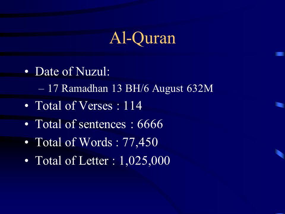 Al-Quran Date of Nuzul: –17 Ramadhan 13 BH/6 August 632M Total of Verses : 114 Total of sentences : 6666 Total of Words : 77,450 Total of Letter : 1,0