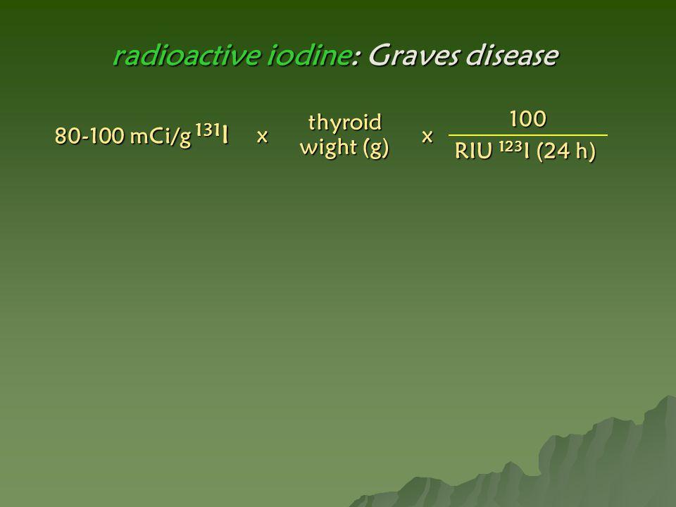100 RIU 123 I (24 h) thyroid wight (g) 80-100 mCi/g 131 I xx radioactive iodine: Graves disease