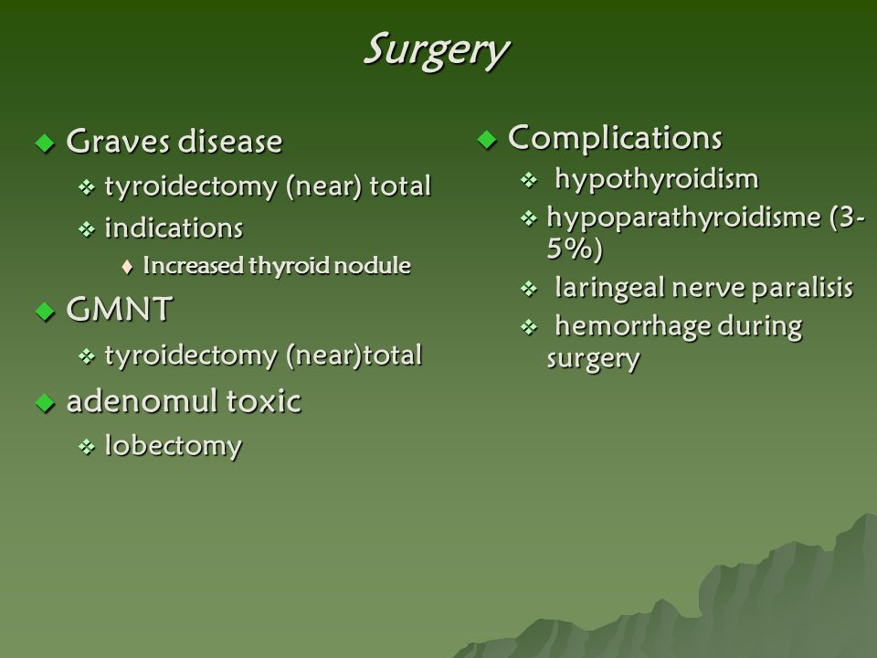 Surgery  Graves disease  tyroidectomy (near) total  indications  Increased thyroid nodule  GMNT  tyroidectomy (near)total  adenomul toxic  lob