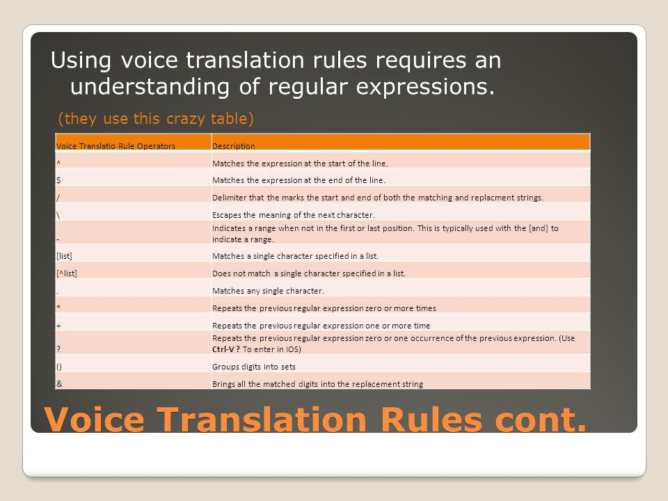 Voice Translation Rules cont.