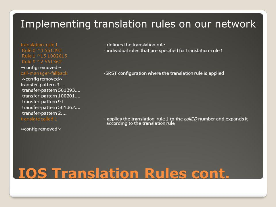 Summary (Voice) translation rules can be used in the IOS to manipulate the digits in a call.