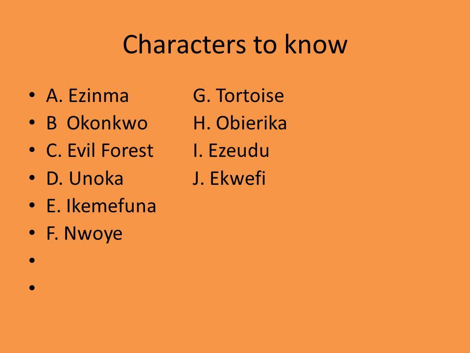 Characters to know A. EzinmaG. Tortoise B OkonkwoH. Obierika C. Evil ForestI. Ezeudu D. UnokaJ. Ekwefi E. Ikemefuna F. Nwoye