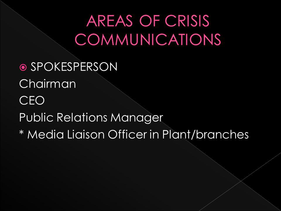  SPOKESPERSON Chairman CEO Public Relations Manager * Media Liaison Officer in Plant/branches