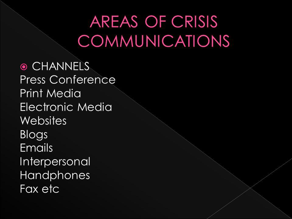 CHANNELS Press Conference Print Media Electronic Media Websites Blogs Emails Interpersonal Handphones Fax etc