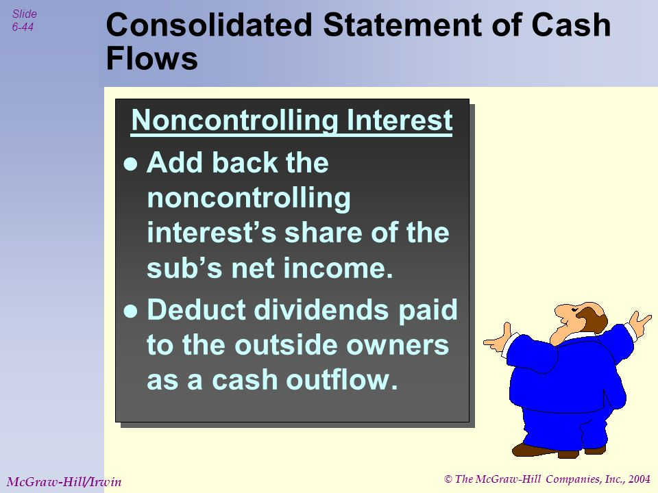© The McGraw-Hill Companies, Inc., 2004 Slide 6-44 McGraw-Hill/Irwin Noncontrolling Interest Add back the noncontrolling interest's share of the sub's net income.