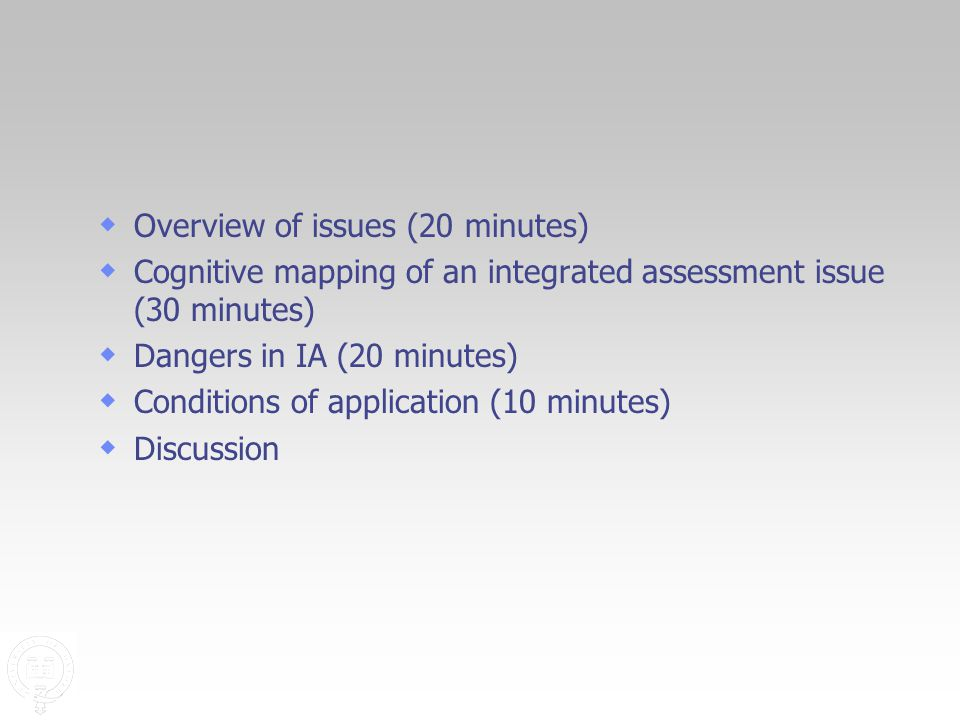  Overview of issues (20 minutes)  Cognitive mapping of an integrated assessment issue (30 minutes)  Dangers in IA (20 minutes)  Conditions of application (10 minutes)  Discussion