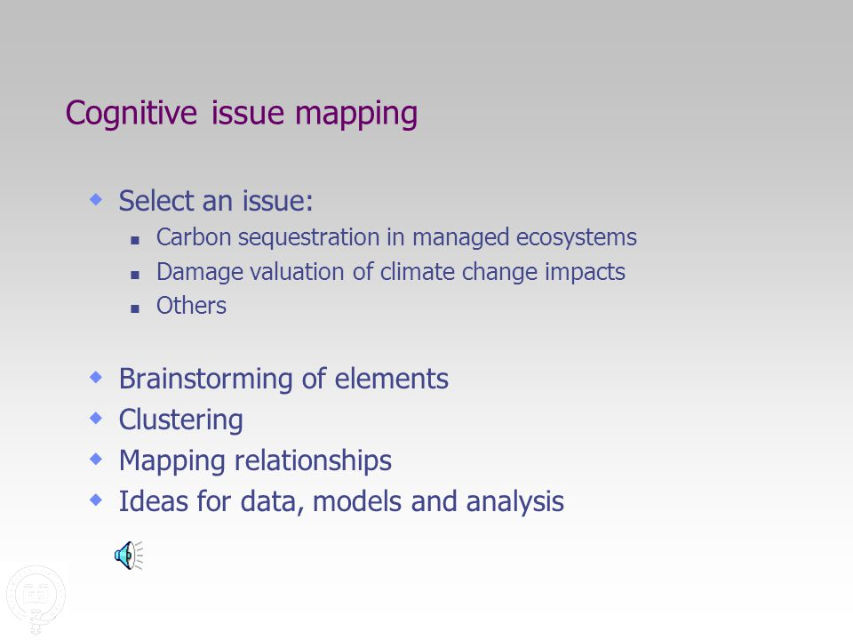 Cognitive issue mapping  Select an issue: Carbon sequestration in managed ecosystems Damage valuation of climate change impacts Others  Brainstorming of elements  Clustering  Mapping relationships  Ideas for data, models and analysis