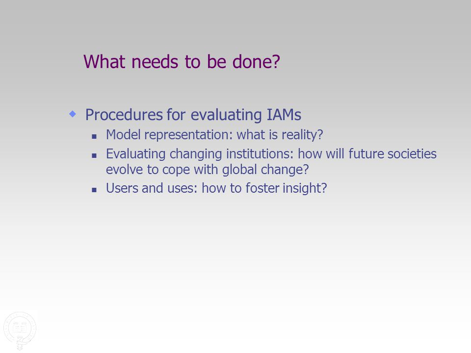 What needs to be done.  Procedures for evaluating IAMs Model representation: what is reality.