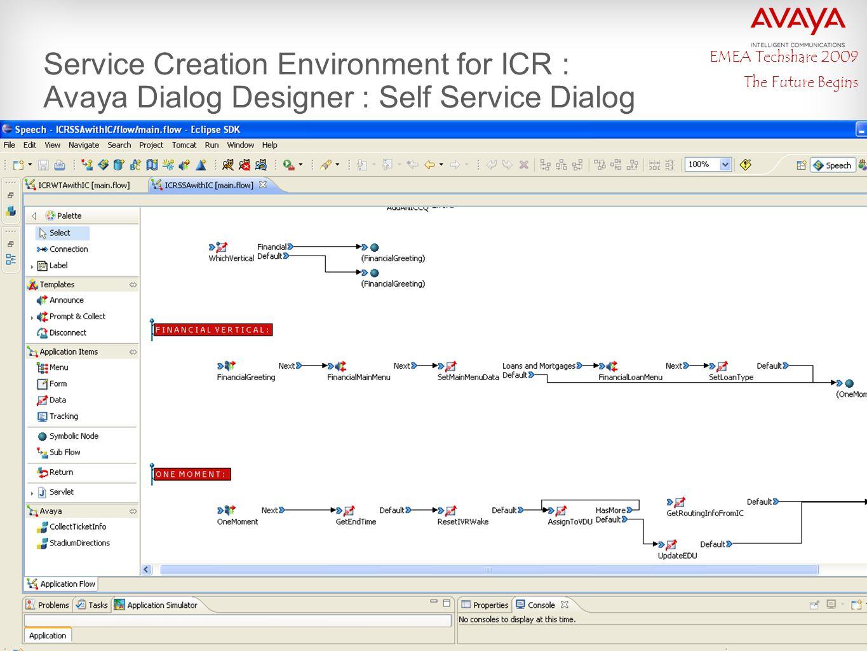 EMEA Techshare 2009 The Future Begins Service Creation Environment for ICR : Avaya Dialog Designer : Self Service Dialog