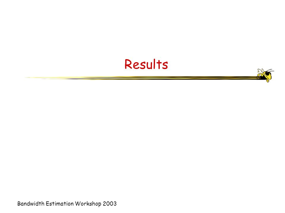 Bandwidth Estimation Workshop 2003 Results
