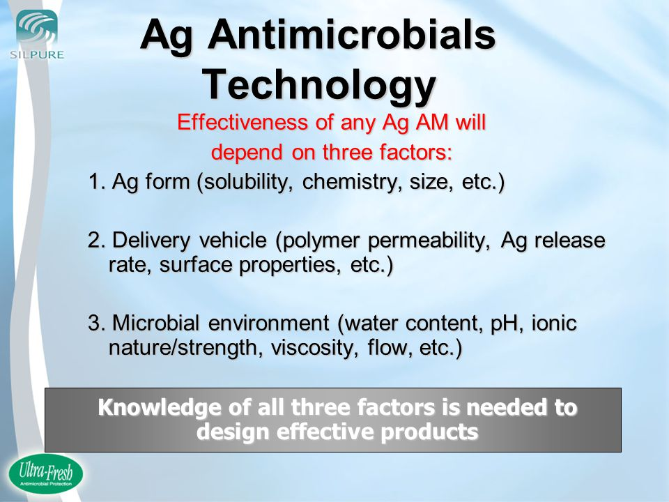 Ag Antimicrobials Technology Effectiveness of any Ag AM will depend on three factors: 1.