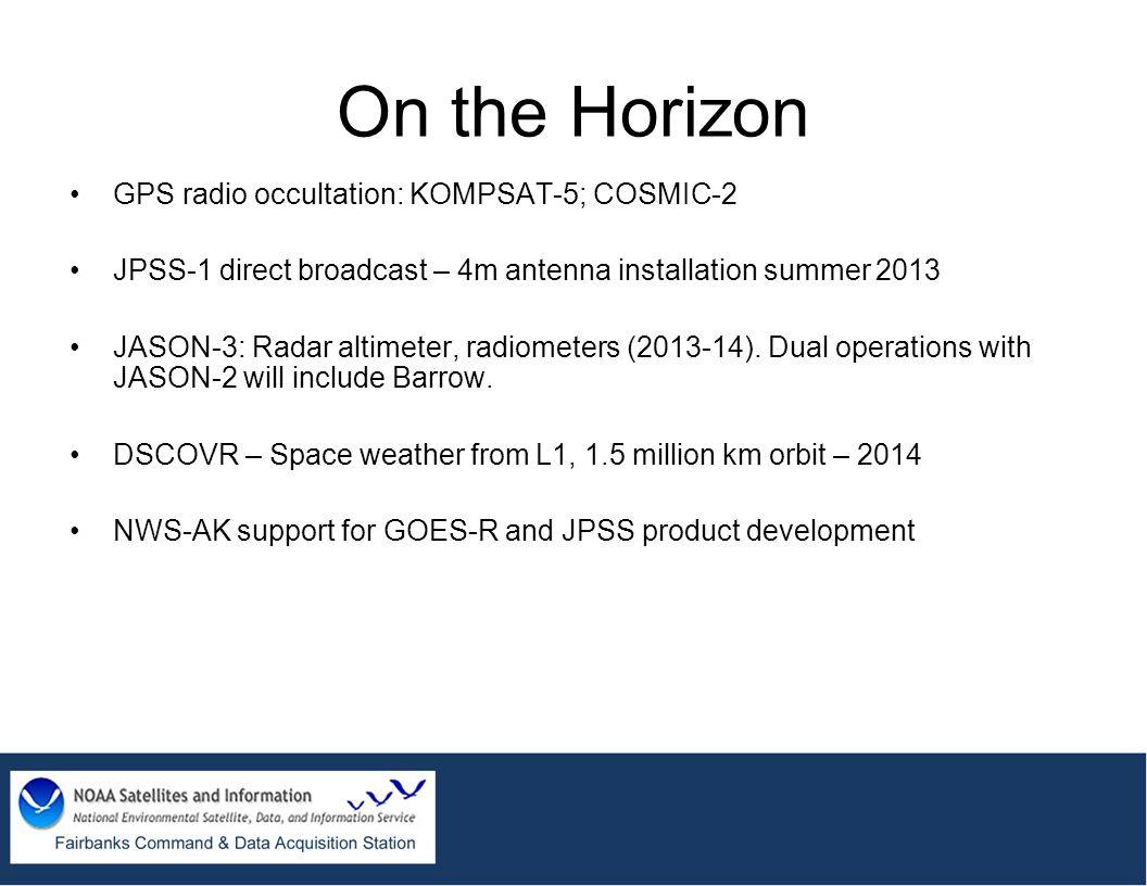On the Horizon GPS radio occultation: KOMPSAT-5; COSMIC-2 JPSS-1 direct broadcast – 4m antenna installation summer 2013 JASON-3: Radar altimeter, radi