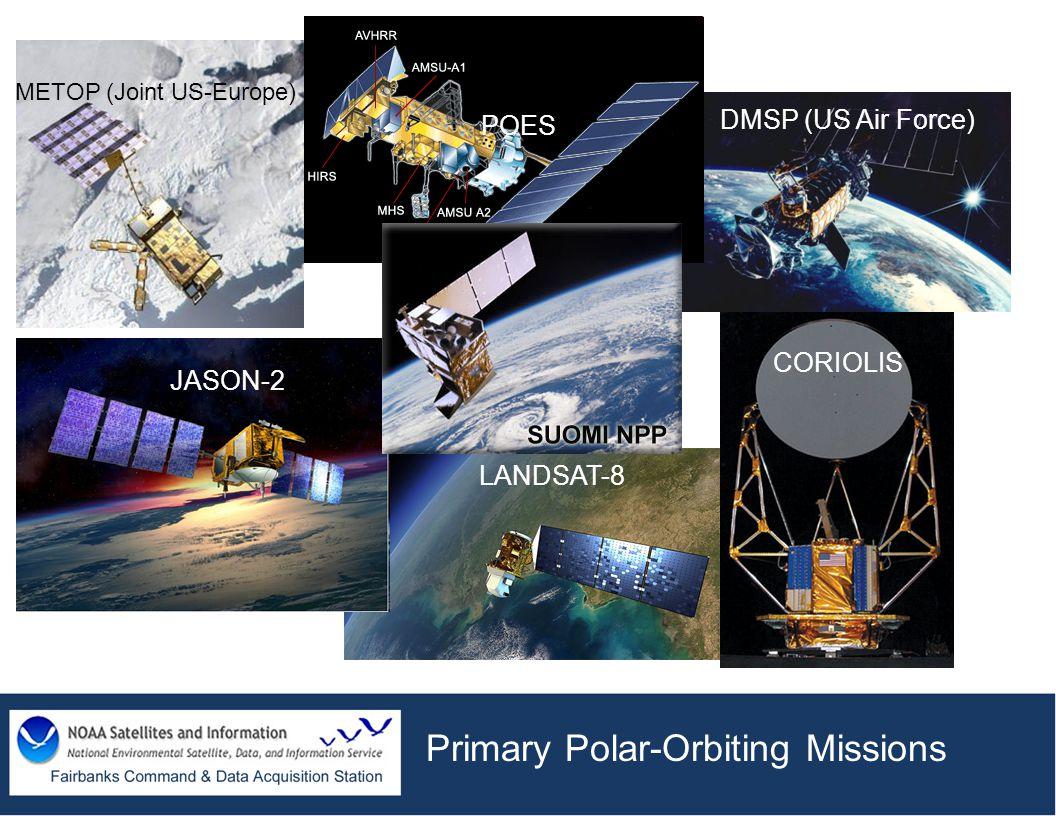 Primary Polar-Orbiting Missions DMSP (US Air Force) METOP (Joint US-Europe) POES CORIOLIS JASON-2 LANDSAT-8