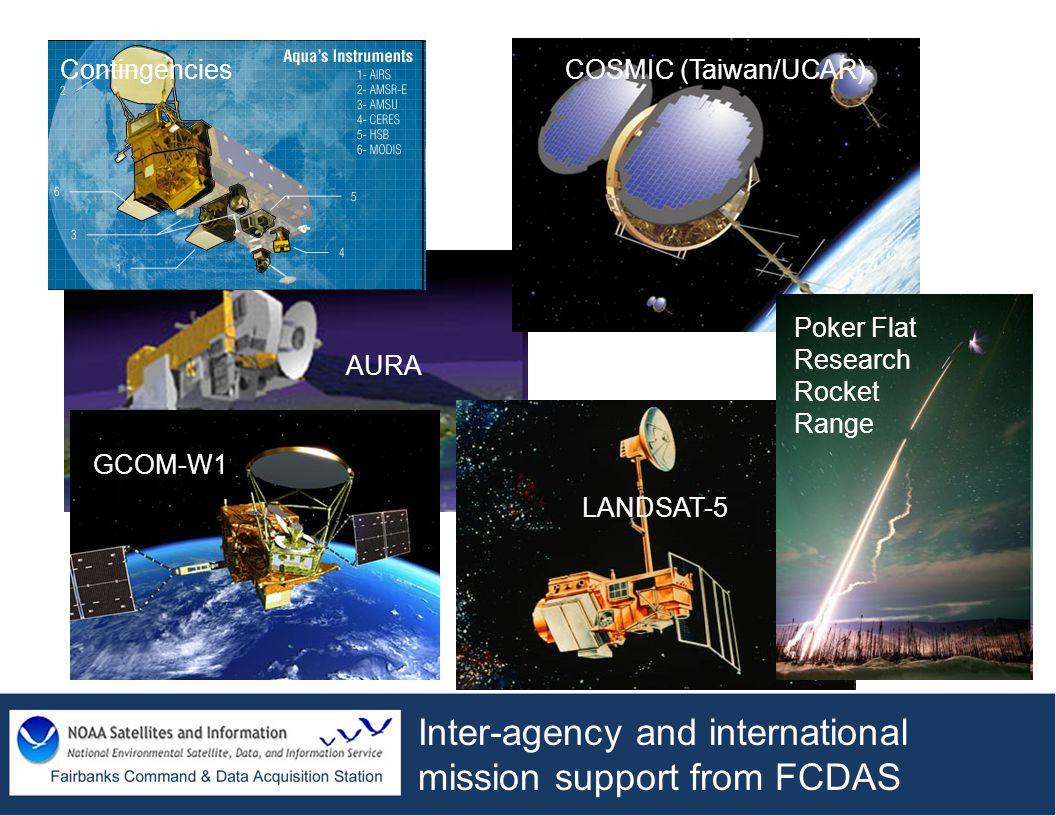 Inter-agency and international mission support from FCDAS COSMIC (Taiwan/UCAR) AURA LANDSAT-5 Contingencies Poker Flat Research Rocket Range GCOM-W1