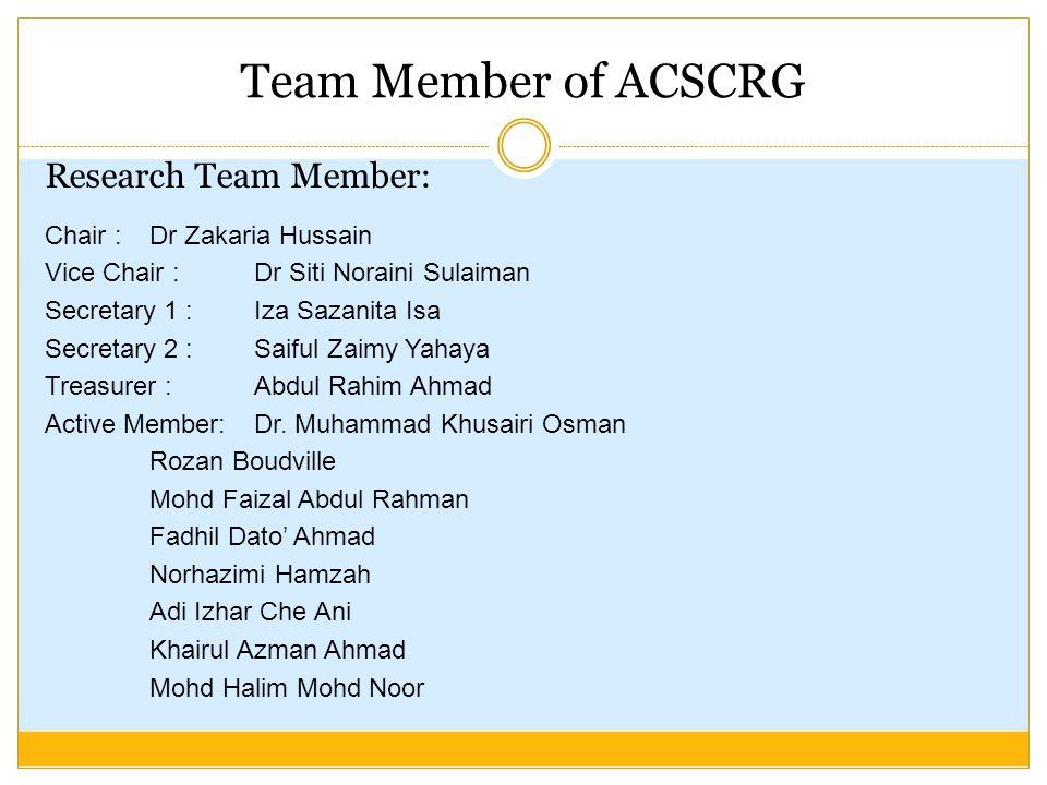 Team Member of ACSCRG Research Team Member: Chair :Dr Zakaria Hussain Vice Chair : Dr Siti Noraini Sulaiman Secretary 1 : Iza Sazanita Isa Secretary 2 :Saiful Zaimy Yahaya Treasurer :Abdul Rahim Ahmad Active Member: Dr.