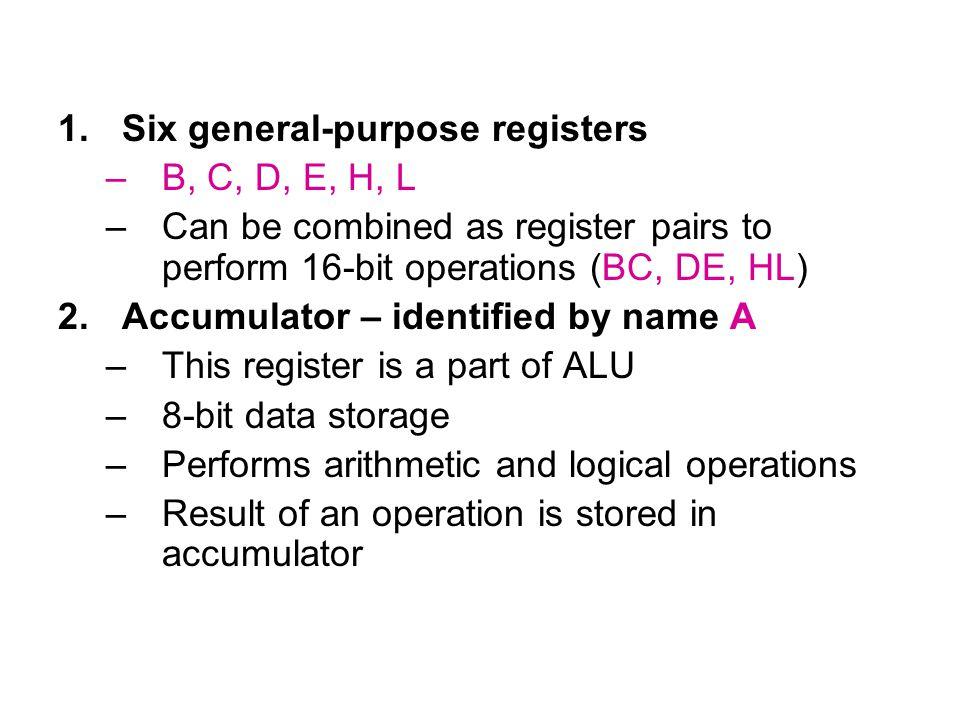 1.Six general-purpose registers –B, C, D, E, H, L –Can be combined as register pairs to perform 16-bit operations (BC, DE, HL) 2.Accumulator – identif