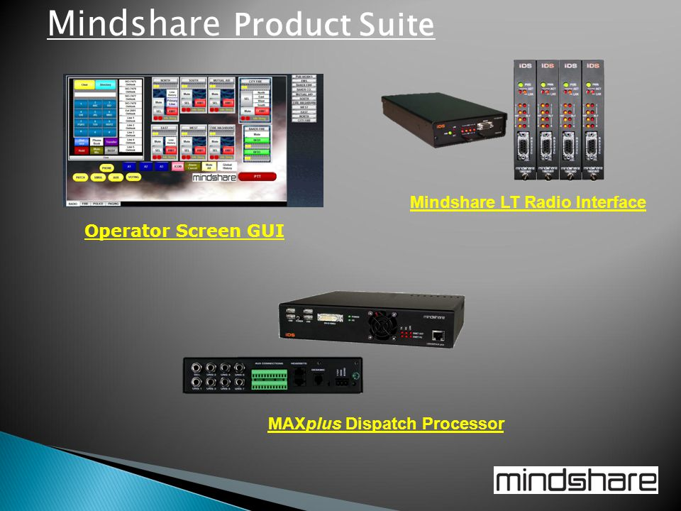 Mindshare LT Radio Interface Operator Screen GUI MAXplus Dispatch Processor Mindshare Product Suite