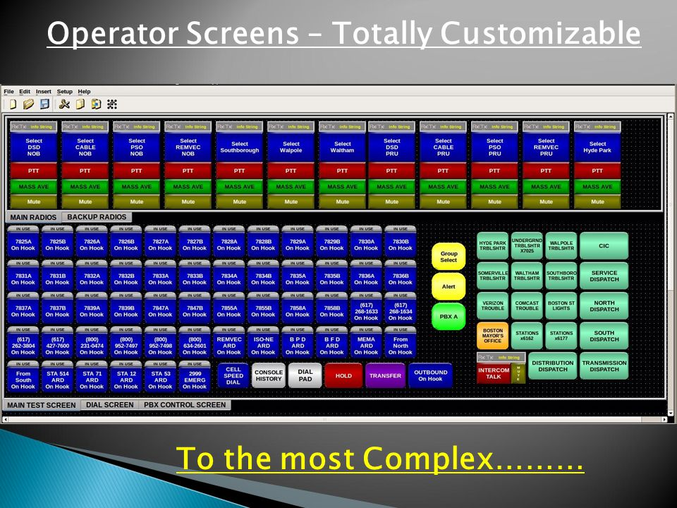 To the most Complex……… Operator Screens – Totally Customizable