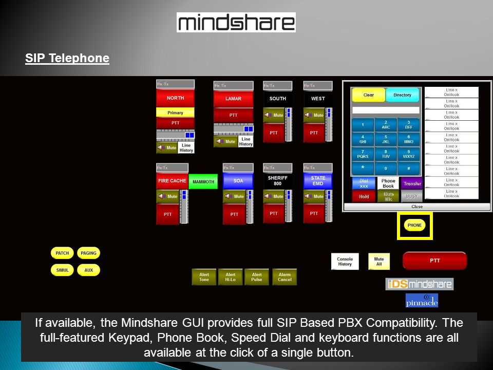 SIP Telephone If available, the Mindshare GUI provides full SIP Based PBX Compatibility. The full-featured Keypad, Phone Book, Speed Dial and keyboard