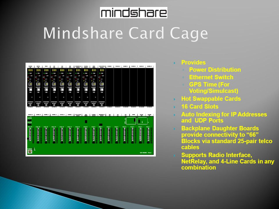  Provides ◦ Power Distribution ◦ Ethernet Switch ◦ GPS Time (For Voting/Simulcast)  Hot Swappable Cards  16 Card Slots  Auto Indexing for IP Addre