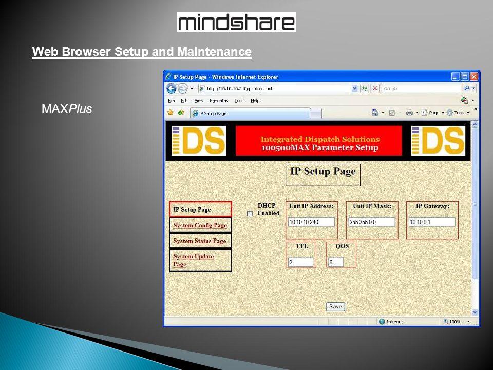 Web Browser Setup and Maintenance MAXPlus
