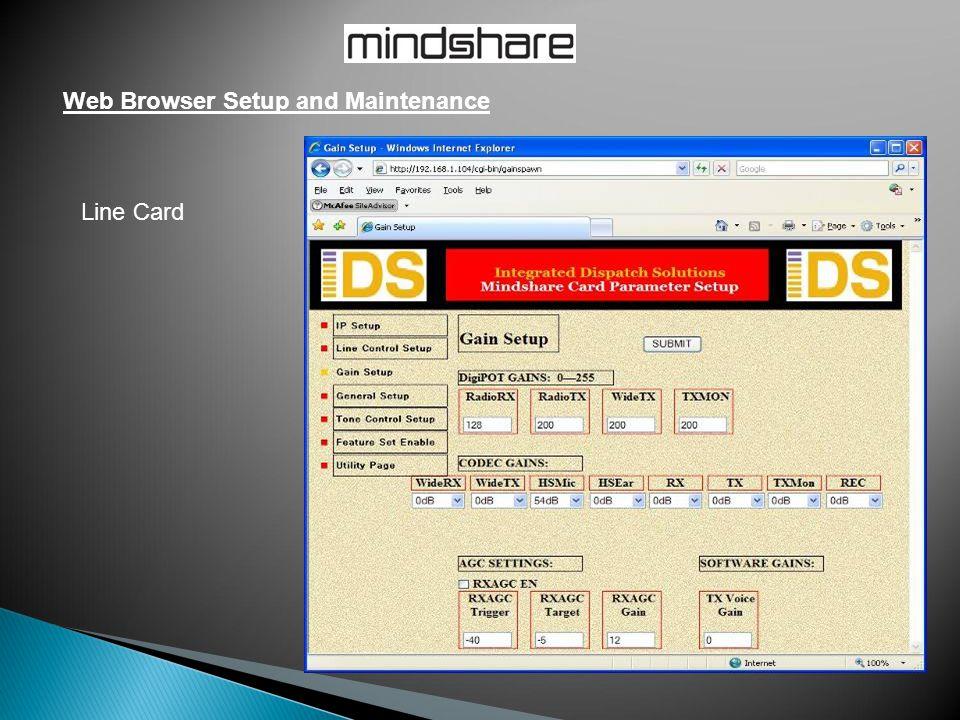 Web Browser Setup and Maintenance Line Card