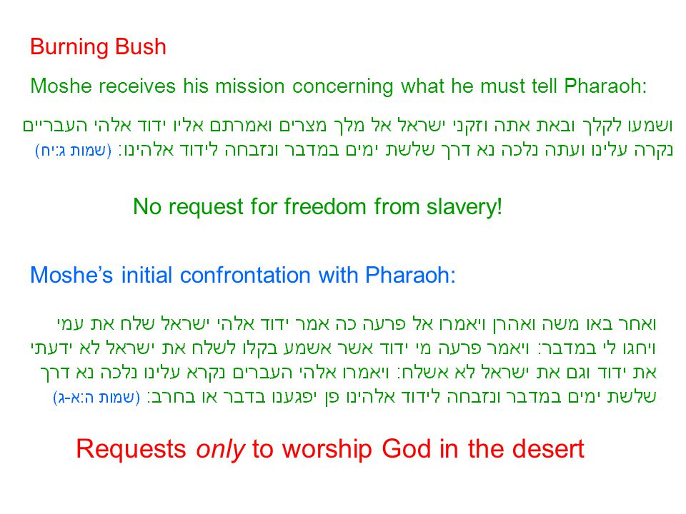 Burning Bush Moshe receives his mission concerning what he must tell Pharaoh: No request for freedom from slavery! Moshe's initial confrontation with